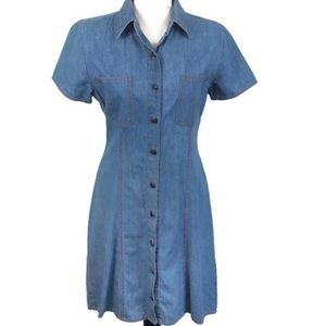 Vintage short sleeve denim button down dress